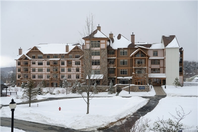 Founders Lodge in the winter from the Village Commons