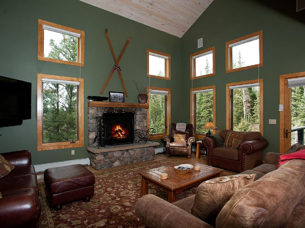 Living room with Flatscreen TV and Wood Burning FIreplace (Wood Provided)